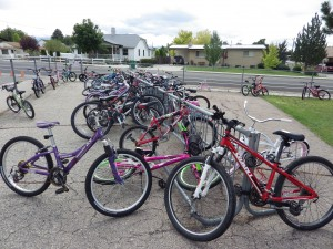 bikes parked at school